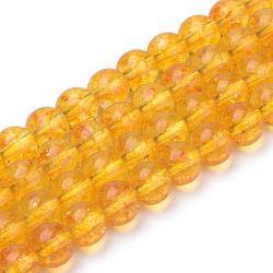 Синтетические цитрин бусы пряди, круглые, окрашенные, 8x7.5 мм, Отверстие : 1 мм; около 46~49 шт / нитка, 15.5''(G-S150-14-8mm)