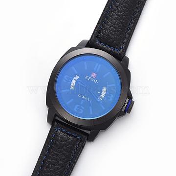Wristwatch, Quartz Watch, Alloy Watch Head and PU Leather Strap, Blue, 10-1/4 inch(26.1cm), 20x3mm, Watch Head: 46x50.5x13mm(WACH-I017-05B)
