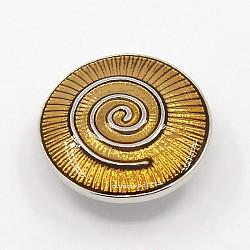 Boutons d'émail en alliage, rond plat vortex sculpté boutons bijoux snap, Sans cadmium & sans nickel & sans plomb, platine, or, 19x7mm(BUTT-F001-52)