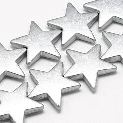 Perles surlignées acryliques opaques peintes par pulvérisation, étoiles, argenterie, 26x28x6mm, Trou: 1.5mm(X-ACRP-Q025-B04)