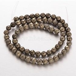 Facettes rondes pyrite naturelle perles brins, café, 4mm, Trou: 0.5mm(G-P061-4mm-20)