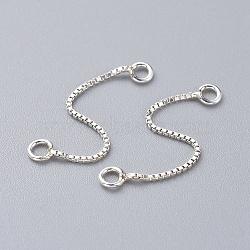 chaîne de boîte en argent sterling, argent, 30x0.8 mm, trou: 1 mm(X-STER-K171-10S)