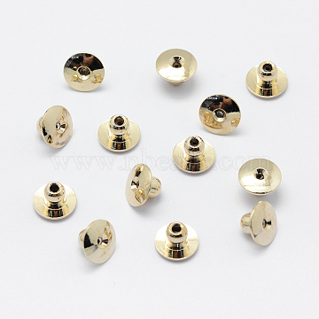 Brass Ear Nuts, Earring Backs, Long-Lasting Plated, Real 18K Gold Plated, Nickel Free, 6.5x4mm, Hole: 0.8mm(X-KK-F727-06G-NF)