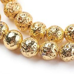 Chapelets de perle en lave naturelle électrolytique, rond, cahoteuse, plaqué or, 8~8.5mm, trou: 1mm; environ 47 pcs/chapelet, 15.35'' (39 cm)(X-G-E429-01-8mm-G)