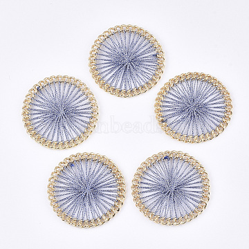 Polyester Thread Woven Pendants, with Alloy Findings, Flat Round, Golden, SteelBlue, 38x4mm(X-FIND-S306-08C)