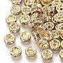 6mm Clair Rond Plat Laiton + Zircon Cubique Perles(KK-T055-024G-NF)