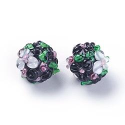 Fait main perles au chalumeau cahoteuses, rond, noir, 12~13mm, Trou: 1.5~1.6mm(LAMP-E021-06I)