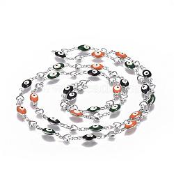 304 chaînes en acier inoxydable émaillé, soudé, mauvais oeil coeur et ovale, couleur inoxydable, colorées, 10x5.5x2mm(CHS-P006-12P)
