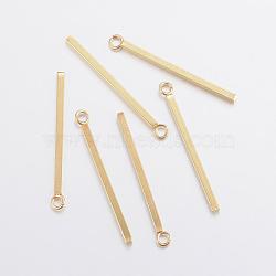 304 Stainless Steel Pendants, Bar, Golden, 18x1.5x1.5mm, Hole: 2mm