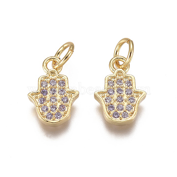 Religion Brass Micro Pave Cubic Zirconia Charms, with Jump Rings, Hamsa Hand/Hand of Fatima /Hand of Miriam, Lilac, Golden, 10.5x7x1.5mm, Hole: 3mm(X-ZIRC-I038-14G)