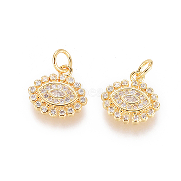 Brass Micro Pave Clear Cubic Zirconia Charms, with Jump Rings, Long-Lasting Plated, Evil Eye, Golden, 12x12x2mm, Hole: 3mm(X-ZIRC-L093-20G)