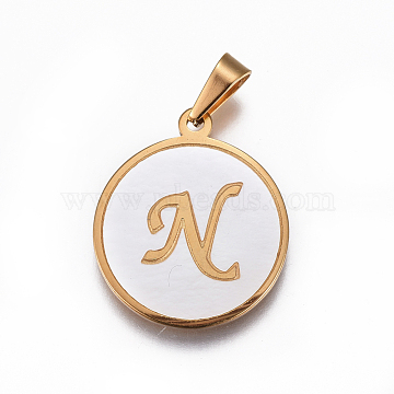 Golden FloralWhite Flat Round Stainless Steel+Other Material Pendants