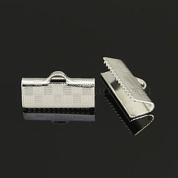 Brass Ribbon Crimp Ends, Rectangle, Silver Color Plated, 7x15mm, Hole: 1x3mm(KK-J071-S)