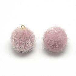 подвески из искусственного меха норки, с выводами латунных золотой тон, вокруг, розовый, 14x10 mm, отверстия: 1.5 mm(X-WOVE-S084-36B)