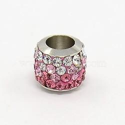 Laiton ouvrir grade argile polymère une colonne de strass perles européennes, rose clair, 8x8mm, Trou: 5mm(X-CPDL-L001-01B)