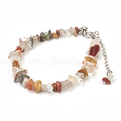 """Bracelets de cheville en perles de quartz naturel rutiles, avec des perles en verre de graine, avec accessoires en laiton et en acier inoxydable, 8-1/2"""" (21.5 cm)(AJEW-AN00229-01)"""