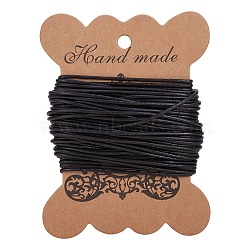 Cowhide Leather Cord, Leather Jewelry Cord, Round, Dyed, Black, Size: about 1.5mm in diameter(X-WL-H002-3)