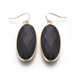 Boucles d'oreilles avec pendentif en laiton, avec la glace, ovale, or, noir, 54 mm; broches: 0.7 mm(EJEW-O083-03G-D)