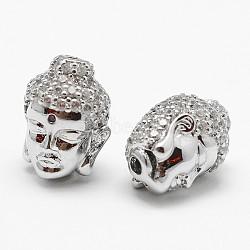 Brass Micro Pave Grade AAA Cubic Zirconia Beads, Buddha Head, Cadmium Free & Nickel Free & Lead Free, Real Platinum Plated, 13.5x11.5x10mm, Hole: 2mm(X-KK-P055-13P-NR)