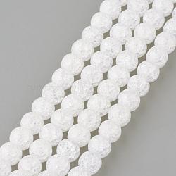 синтетический хрустят кварц бисер пряди, вокруг, окрашенный, снег, 6 mm, отверстия: 1 mm; о 66 шт / прядь, 15.7(X-GLAA-S134-6mm-05)