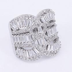 Bagues en laiton avec zircone cubique de micro pave, anneaux large bande, taille 9, platine, 19mm(RJEW-E145-40P-19mm)