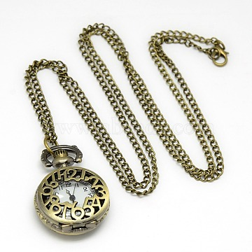 Alloy Flat Round with Number Pendant Necklace Quartz Pocket Watch, with Iron Chains and Lobster Claw Clasps, Antique Bronze, 31.1inches; Watch Head: 37x27x11mm(WACH-N011-28)