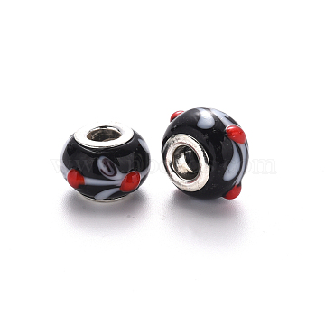 Handmade Lampwork European Beads, Bumpy, Large Hole Rondelle Beads, with Platinum Tone Brass Double Cores, Rondelle, Black, 14~15x9~10mm, Hole: 5mm(LPDL-N001-045-B11)