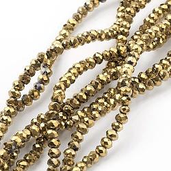 гальванизируйте стекло бисер нитей, полный золотой покрытием, граненый, Rondelle, золотарник, 2.5x2 mm, отверстия: 1 mm; о 190~195 шт / прядь, 17.5