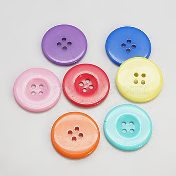 Resin Buttons, Dyed, Flat Round, Mixed Color, 13x2mm, Hole: 2mm(X-RESI-D033-13mm-M)