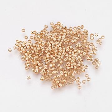 Brass Crimp Beads, Long-Lasting Plated, Rondelle, Light Gold, 2x1.5mm, Hole: 1mm(KK-O102-07G)