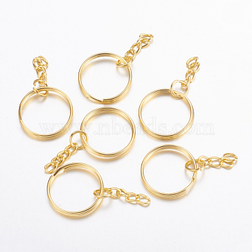 Iron Split Key Rings, with Curb Chains, Keychain Clasp Findings, Golden, 25x2mm(X-IFIN-H047-G)