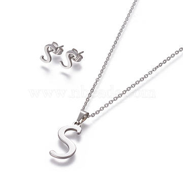 304 Stainless Steel Jewelry Sets, Stud Earring and Pendant Necklaces, Alphabet, Stainless Steel Color, Letter.S, 17.7 inches~18.1 inches(45~46cm), 7.5~10x3.5~12mm, Pin: 0.8mm(X-SJEW-L141-052S)
