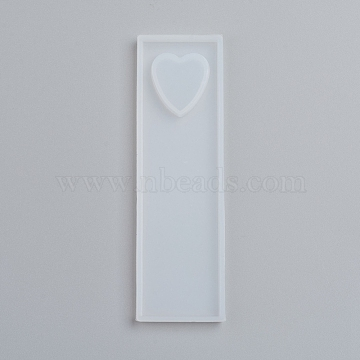 Silicone Bookmark Molds, Resin Casting Molds, For UV Resin, Epoxy Resin Jewelry Making, Heart, White, 90x26x5mm, Heart: 16x16mm(X-DIY-G017-D01)