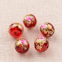цветочная картина печатные стеклянные круглые бусины, красный, 10 mm, отверстия: 1 mm(GLAA-J087-10mm-A05)