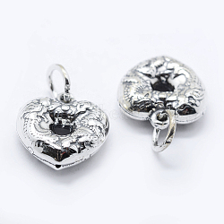 Thai Sterling Silver Pendants, Heart, Antique Silver, 13.5x13x4mm, Hole: 4mm(STER-K171-06AS)