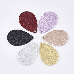 pendentifs en cuir pu, larme, couleur mélangée, 37.5x25x1.8 mm, trou: 2 mm(X-FIND-S300-38A-M)