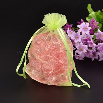 Organza Bags, Rectangle, Light Green, about 10cm wide, 15cm long(T247P011)
