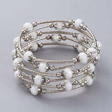 Fashion Glass Beads Wrap Bracelets, 5 Loops, with Brass Tube Beads, Iron Beads, Alloy Bead Caps and Steel Memory Wire, WhiteSmoke, 2-1/8 inches(5.5cm)(BJEW-JB04989-04)
