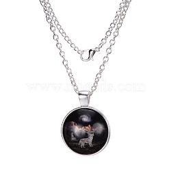 """Colliers avec pendentif plat rond motif de louve en verre, avec des chaînes d'alliage, argenterie, 18""""(X-NJEW-N0051-013R-02)"""