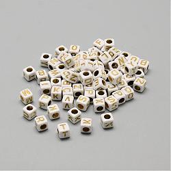 plaquer les perles acryliques, métal doré enlaça, style alphabet, cube, mixte, 5.5~6x5.5~6x5.5~6 mm, trou: 3.5 mm; environ 3000 pcs / 500 g(SACR-S297-09)