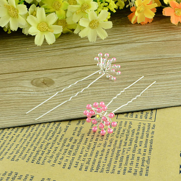 Lady's Hair Accessories Silver Color Plated Iron Rhinestone Flower Hair Forks, with ABS Plastic Beads, HotPink, 72mm; 20pcs/box(PHAR-R091-05)