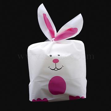 sacs de bonbons en plastique, sacs d'oreille de lapin, des sacs-cadeaux, imprimé recto-verso, hotpink, 30x15.5 cm(X-ABAG-Q051C-01)