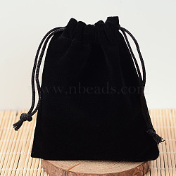 Pochettes rectangle en velours, bonbons sacs cadeaux fête de noël mariage faveurs sacs, noir, 12x10 cm(TP-R002-10x12-01)