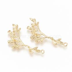 pendentifs en laiton, pour perle à moitié percée, branche et de feuilles, réel 18 k plaqué or, 39.5x20x2 mm, trou: 1.5 mm; broches: 1 mm(KK-S345-084)
