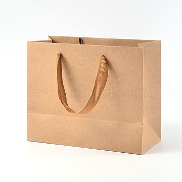 Rectangle Kraft Paper Bags, Gift Bags, Shopping Bags, Brown Paper Bag, with Nylon Cord Handles, BurlyWood, 22x18x10cm(AJEW-L047D-01)