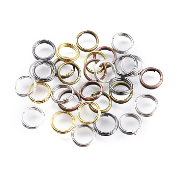 Iron Split Rings, Mixed Color, 6x1.4mm, Inner Diameter: 5.3mm; 6 Colors; about 4750pcs/500g(IFIN-JQ0001-04-6mm)