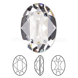 Austrian Crystal Rhinestone Cabochons, Crystal Passions, Faceted Oval Fancy Stone, 4120, 001_Crystal, 18x13mm(X-4120-18x13-001(U))