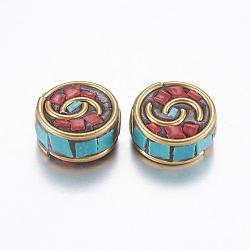 Perles Indonésiennes manuelles, avec les accessoires en laiton, sans nickel, plat rond, non plaqué, 12x6mm, Trou: 2mm(IPDL-G003-01C-NF)