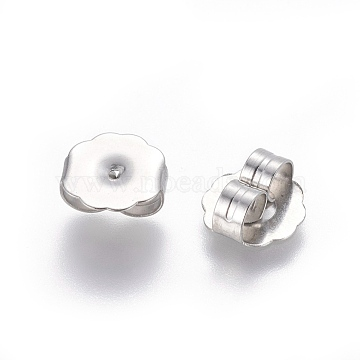 304 Stainless Steel Ear Nuts, Earring Backs, Stainless Steel Color, 9.5x9.5x4mm, Hole: 1mm(X-STAS-E464-03P)