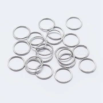 925 Sterling Silver Round Rings, Soldered Jump Rings, Platinum, 4x1mm, Inner Diameter: 1mm(STER-F036-03P-1x4)